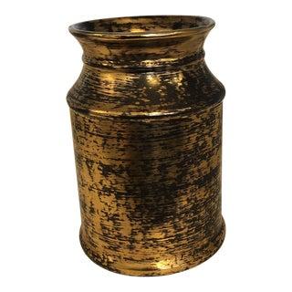 1980s Hollywood Regency Stangl Black and Gold Vase For Sale