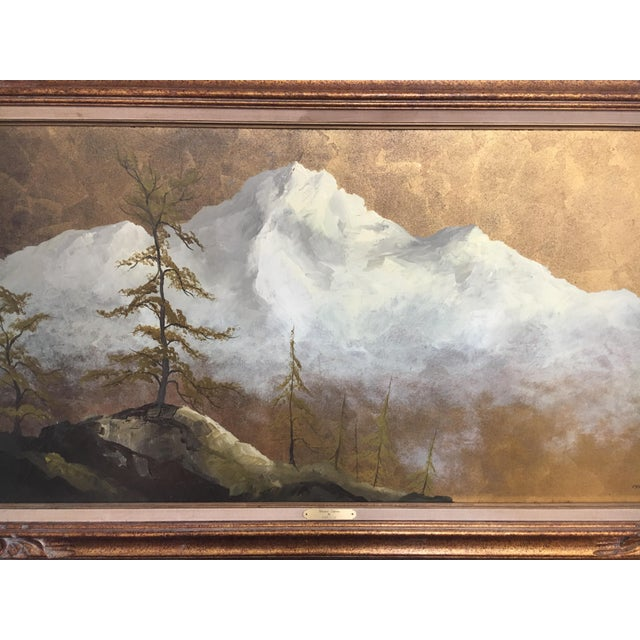 Figurative Original Gold Leaf on Masonite Painting by Les Parisch - Grand Tetons For Sale - Image 3 of 12