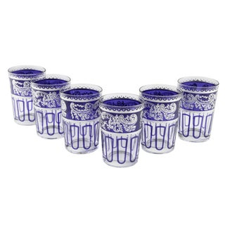 Essaouira Blue & Silver Glasses - Set of 7 For Sale