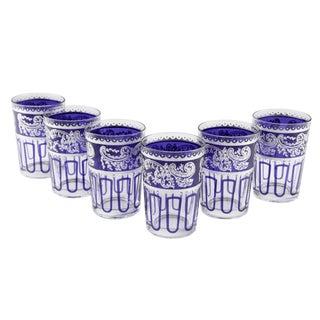 Essaouira Blue & Silver Glasses - Set of 7