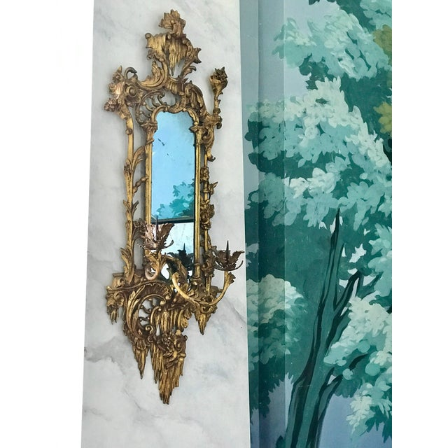 Rococo Giltwood Mirrored Wall Sconces For Sale - Image 3 of 8