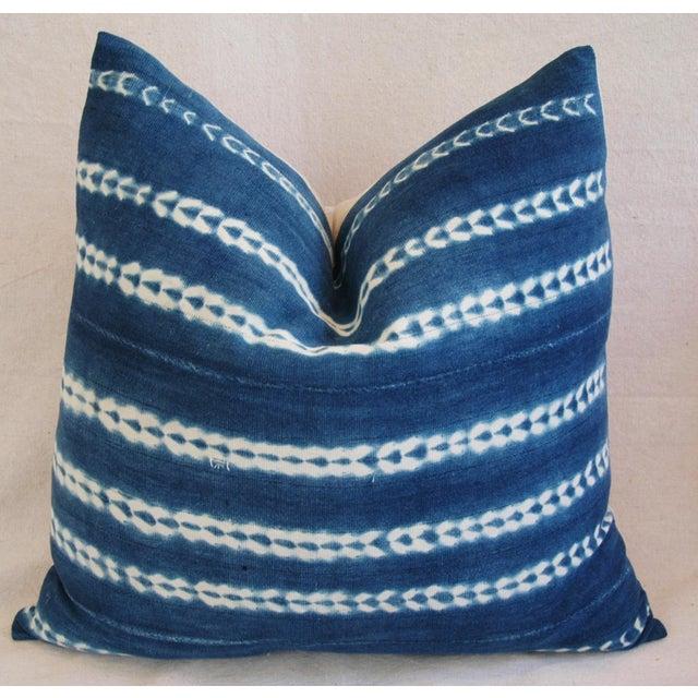 Indigo Blue Boho Chic African Mali Mud Cloth Tribal Textile Pillows - Pair - Image 6 of 11