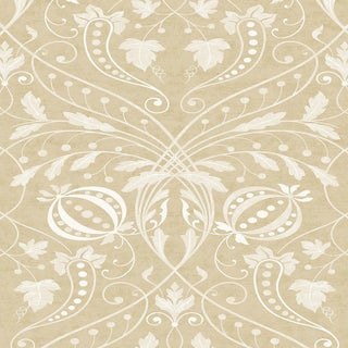 "Lewis & Wood Chateau Honeycombe Extra Wide 52"" Damask Wallpaper Sample For Sale"