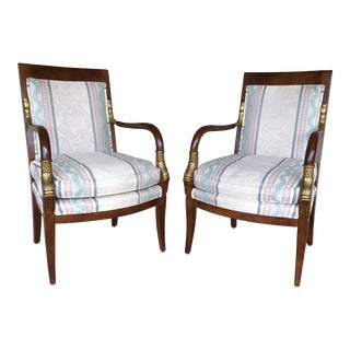 20th Century Regency Gold Koi Scaled Arm Chairs - a Pair
