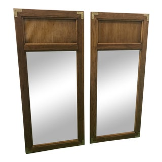 Reeded Campaign-Style Mirrors, a Pair