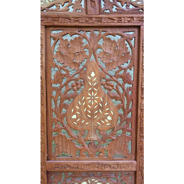 Carved Indian Screen with Brass Inlay For Sale - Image 4 of 7