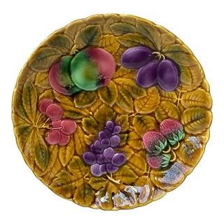 1930s Vintage Majolica Sarreguemines Fruits Platter For Sale