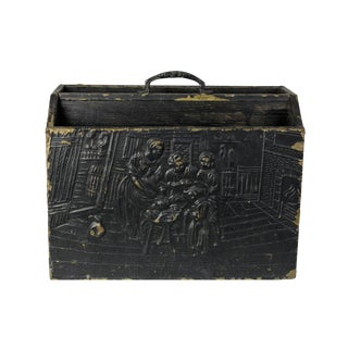 Late 19th Century Antique English Brass and Wood Repoussé Magazine Holder For Sale