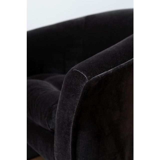 Black Mid-Century Modern Black Velvet Tub Barrel Chairs - a Pair For Sale - Image 8 of 9