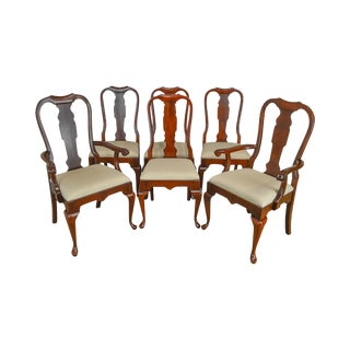 Pennsylvania House Solid Cherry Traditional Queen Anne Set of 6 Dining Chairs For Sale