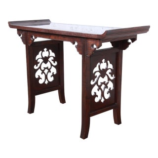 Michael Taylor for Baker Furniture Hollywood Regency Chinoiserie Walnut and Burl Wood Console or Altar Table For Sale