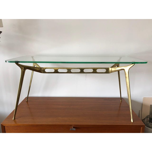 Cesare Lacca Glass Top Brass Cocktail Table For Sale - Image 11 of 11