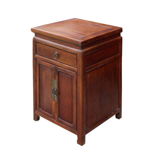 Asian Chinese Ming Style Republic China Brown Simple End Table Nightstand For Sale - Image 3 of 8