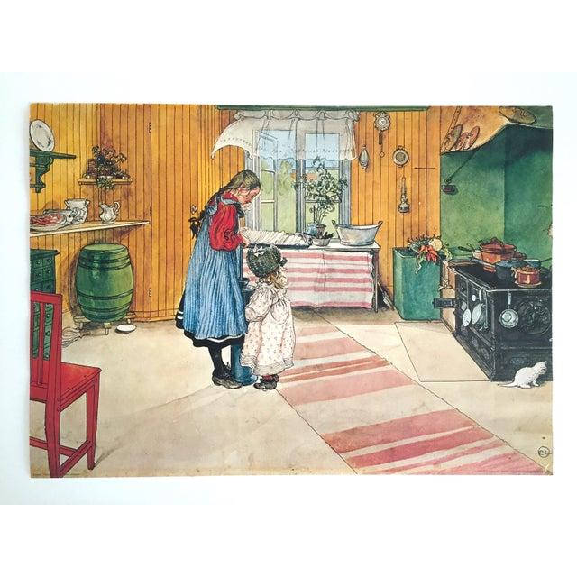 "Carl Larsson Vintage 1972 Original Swedish Lithograph Print Poster "" Koket the Kitchen "" 1898 For Sale - Image 12 of 12"