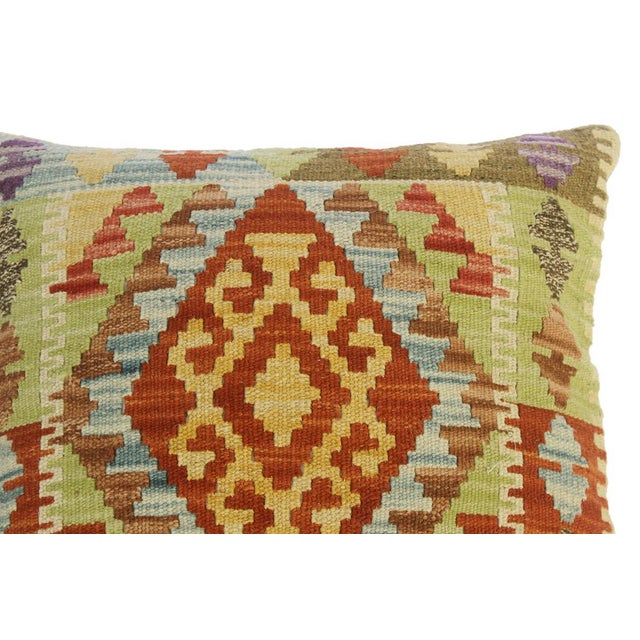 "Asian Clarissa Rust/Lt. Blue Hand-Woven Kilim Throw Pillow(18""x18"") For Sale - Image 3 of 6"