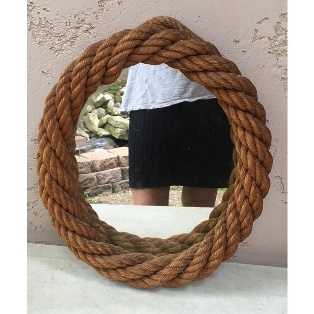 Adrien Audoux and Frida Minet 1960s Audoux Minet Oval Rope Mirror For Sale - Image 4 of 4