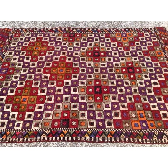 Islamic Vintage Embroidered Turkish Rug - 4′5″ × 6′10″ For Sale - Image 3 of 5