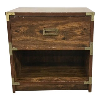 1960s Mid-Century Modern Campaign Style Nightstand