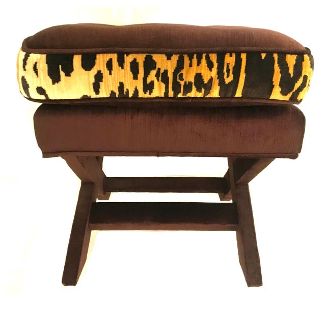 Contemporary Leopard & Brown Velvet Upholstered X Bench For Sale - Image 3 of 9