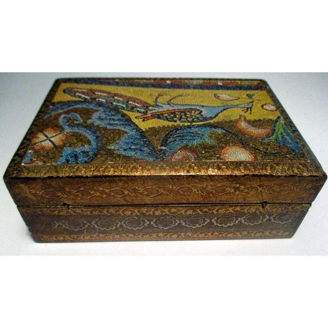 Italian 1970s Italian Florentine Decorative Box With Peacock Design For Sale - Image 3 of 7