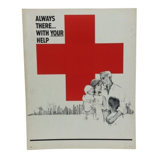"1950 Vintage ""Always There ... With Your Help"" Red Cross Sign For Sale"