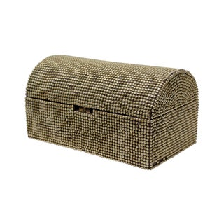 Brass Studded Tabletop Trunk For Sale