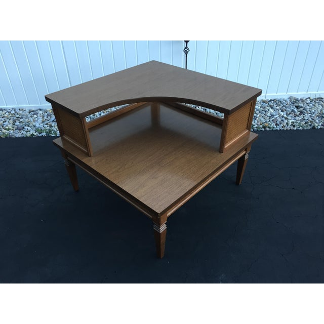 Mid-Century Modern Vintage Baumritter Two Tiered Laminate Top Corner Table For Sale - Image 3 of 8