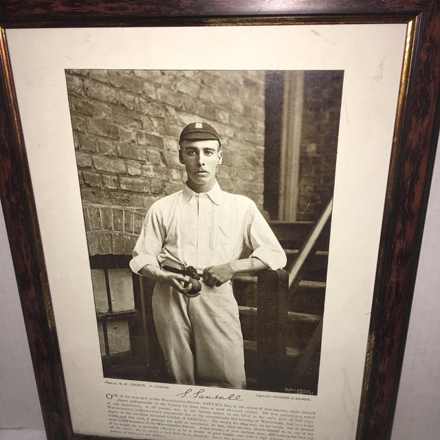 A wonderful Sepia tone photo reproduction print of England Cricket Champion Sydney Santall. A great period image. Man cave...