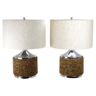 Modernist Cork & Chrome Lamps - A Pair For Sale
