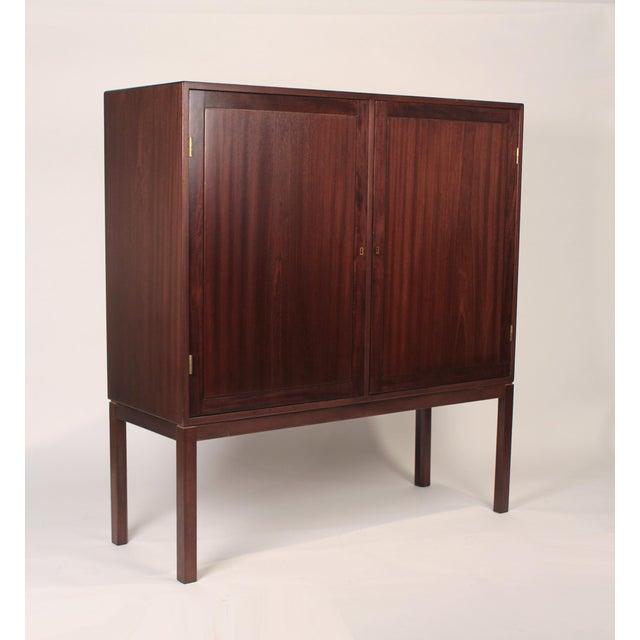 Danish Modern Scandinavian Modernist Mahogany Armoire Cabinet For Sale - Image 3 of 6