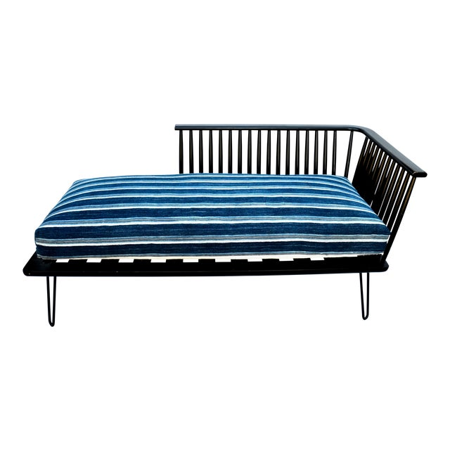 Mid-Century Modern Daybed Settee With African Upholstery For Sale