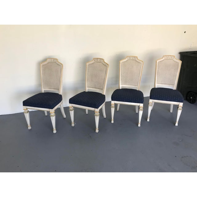 1970s Vintage Drexel Siena Furniture Italian Neoclassical Cane Back Dining Chairs- Set of 4 For Sale - Image 11 of 13