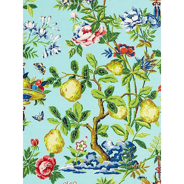 Chinoiserie Scalamandre Shantung Garden, Aquamarine Fabric For Sale - Image 3 of 3