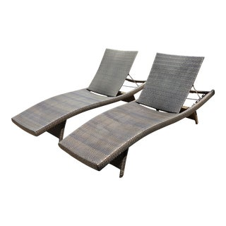 Modern Frontgate Balencia Bronze Outdoor Chaises- a Pair For Sale