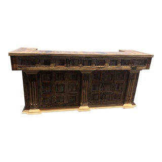 20th Century Mexican Weathered Pine Wood Bar For Sale