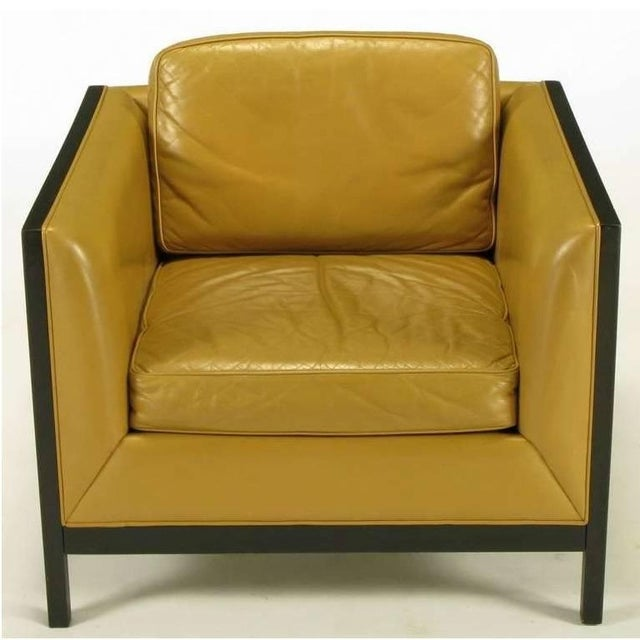 Mid-Century Modern Pair of Stow Davis Leather, Ebonized Wood and Aluminium Even Armchairs For Sale - Image 3 of 10
