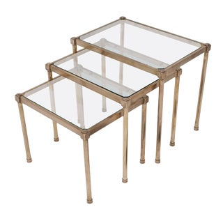 Set of Three Mid-Century Brass and Glass Nesting Tables, France, circa 1950 For Sale