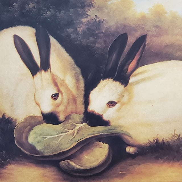 1990s P. Rolence Folk Art Gold Print of Himalayan Rabbits Eating Cabbage, Framed For Sale - Image 6 of 13