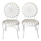 Image of Vintage Francois Carre Sunburst Wrought Iron Chairs - a Pair For Sale