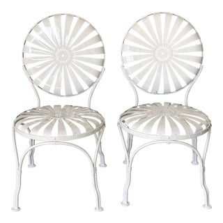 Vintage Francois Carre Sunburst Wrought Iron Chairs - a Pair For Sale