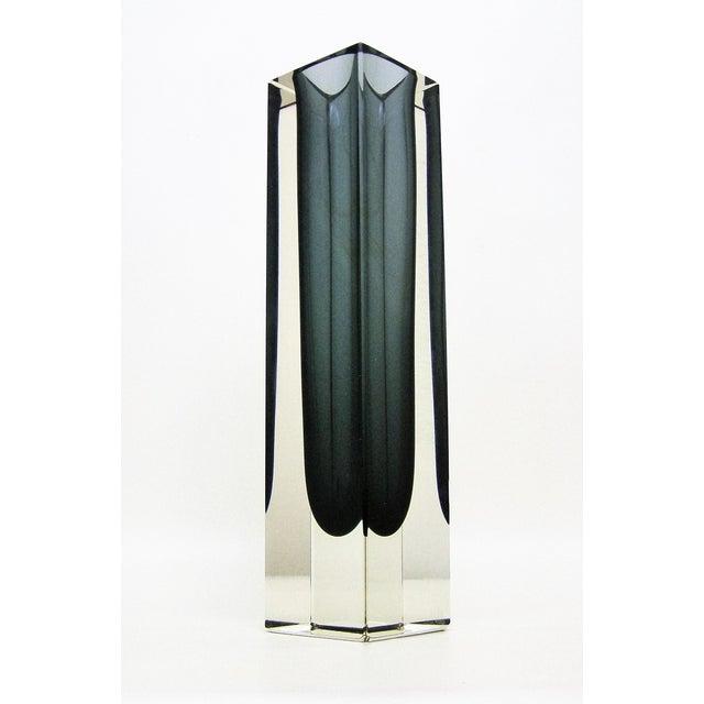 Italian Mandruzzato Murano Mid-Century Modern Gray Glass Vase MCM - Image 2 of 11