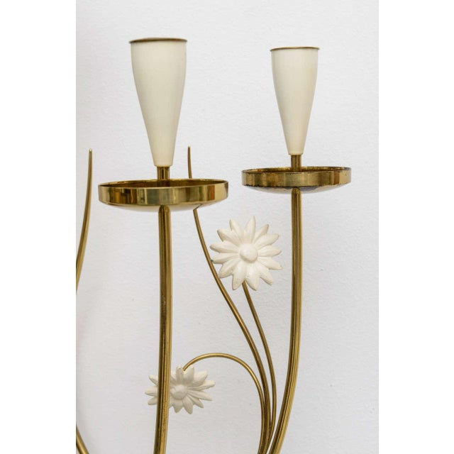 Large Scale 1950's Italian Brass Candle Sconce For Sale - Image 4 of 11