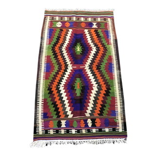 Turkish Handmade Wool Kilim Rug- 2'8'' x 4'5'' For Sale