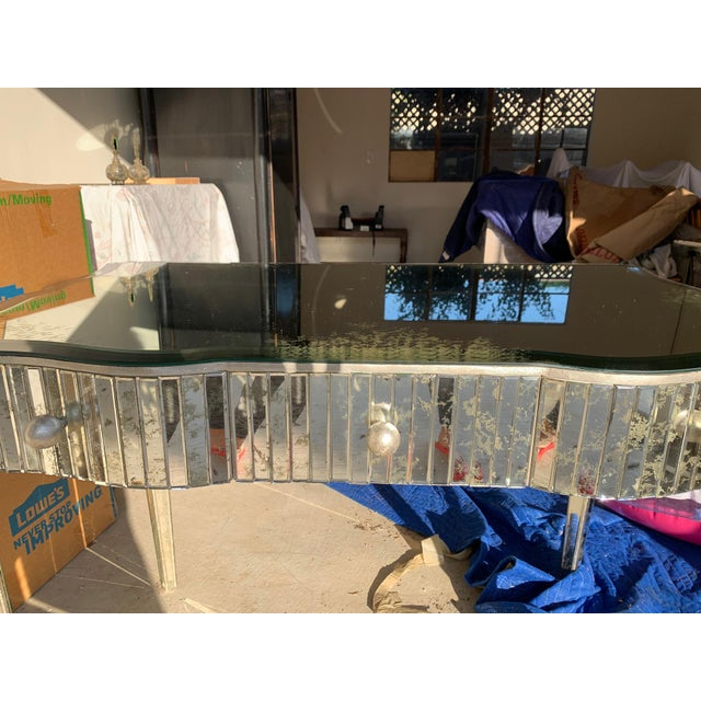 Antiqued Mirror Writing Desk For Sale In Los Angeles - Image 6 of 9
