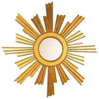 French Vintage Giltwood Sunburst Mirror, 1950s