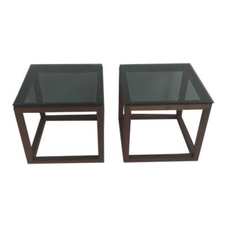 1970s Vintage Smoked Glass & Walnut Side Table For Sale