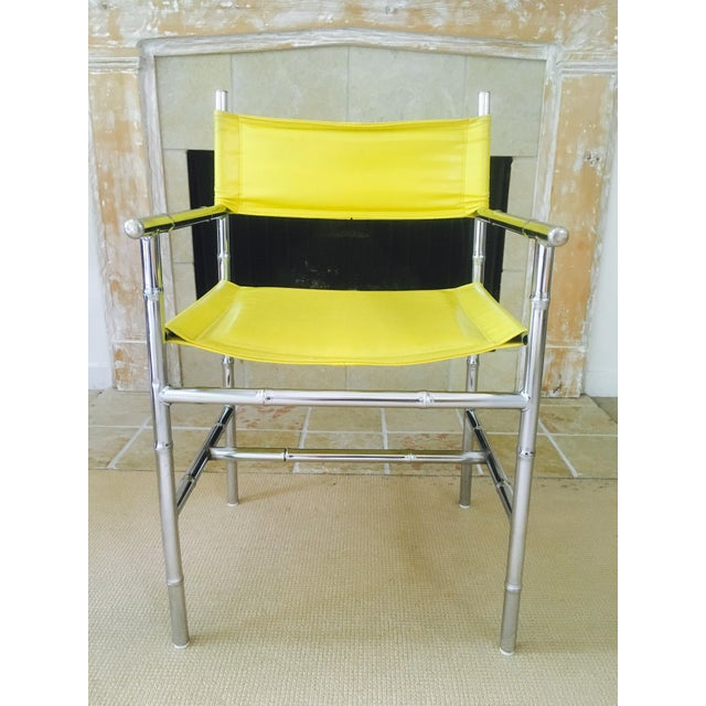 Mid-Century Chrome Arm Chair in Yellow - Image 4 of 8