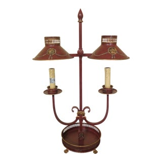 Regency Style Red Toleware Decorative Desk or Table Lamp For Sale