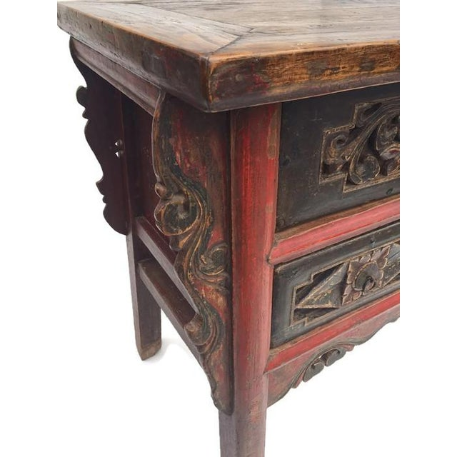 Red Antique Tibetan Altar Console Table 3 Drawer Chest For Sale - Image 8 of 9