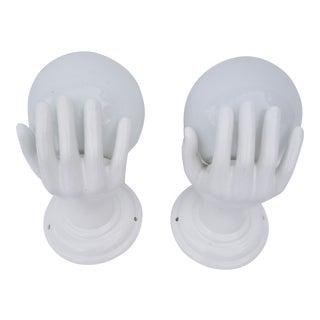"""Ceramic """"Hands"""" Sconces - a Pair For Sale"""